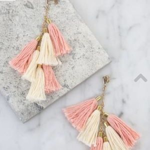 DAYDREAMER TASSEL EARRINGS IN PEACH AND GOLD